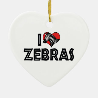 I Love Heart Zebras - Zebra Lover Christmas Ornament