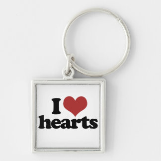 I Love Hearts Silver-Colored Square Key Ring