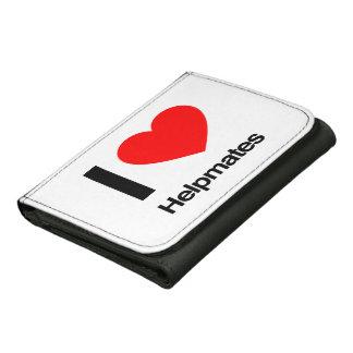 i love helpmates leather tri-fold wallet