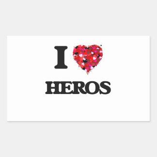 I Love Heros Rectangular Sticker