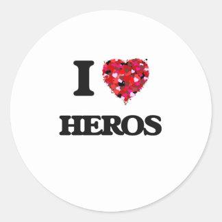 I Love Heros Round Sticker