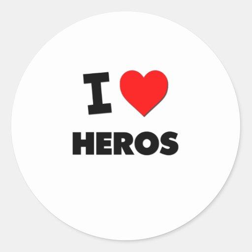 I Love Heros Stickers