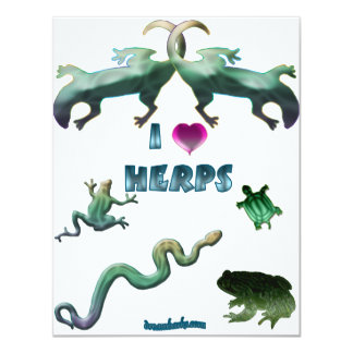 I Love Herps 11 Cm X 14 Cm Invitation Card