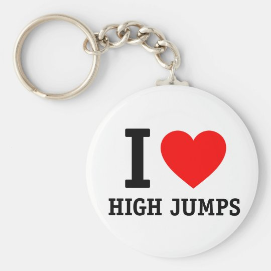 I Love High Jumps Basic Round Button Key Ring