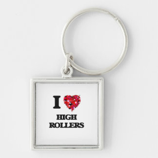 I Love High Rollers Silver-Colored Square Key Ring