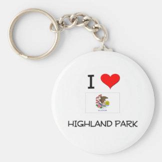 I Love HIGHLAND PARK Illinois Basic Round Button Key Ring