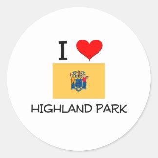 I Love Highland Park New Jersey Round Sticker
