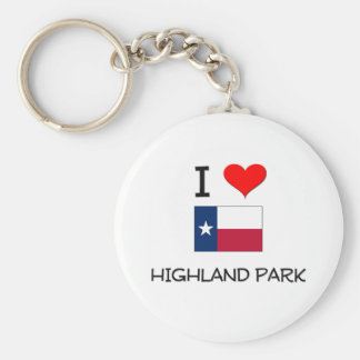 I Love Highland Park Texas Basic Round Button Key Ring