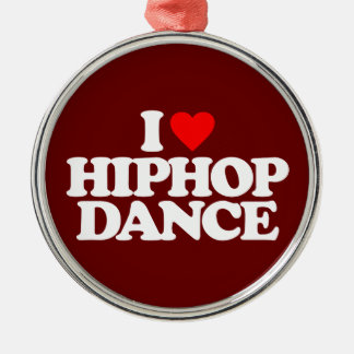 I LOVE HIPHOP DANCE Silver-Colored ROUND DECORATION