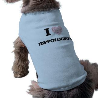 I love Hippologists (Heart made from words) Sleeveless Dog Shirt
