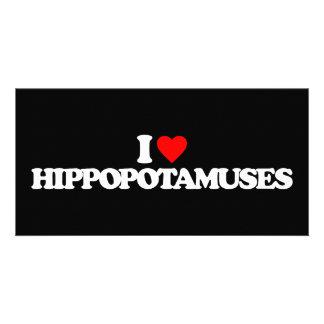 I LOVE HIPPOPOTAMUSES PERSONALIZED PHOTO CARD