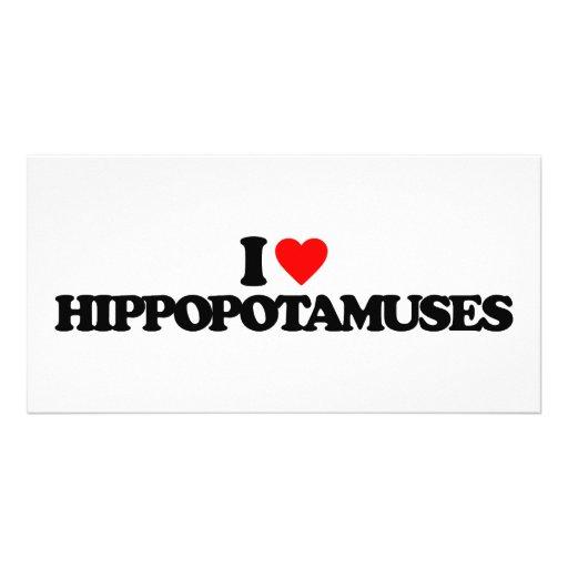 I LOVE HIPPOPOTAMUSES CUSTOM PHOTO CARD