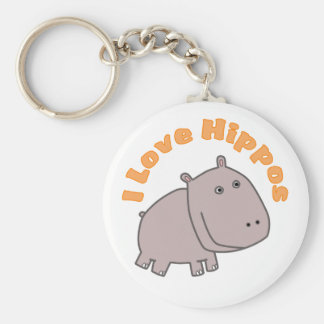 I Love Hippos Basic Round Button Key Ring
