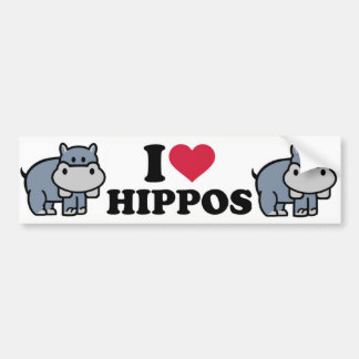 I Love Hippos Bumper Sticker