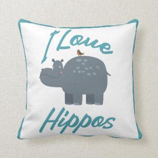 I Love Hippos Cute Kid Friendly Hippo Design Cushion
