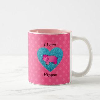 I love hippos pink polka dots mugs