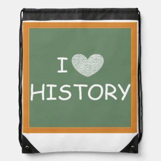 I Love History Drawstring Bag