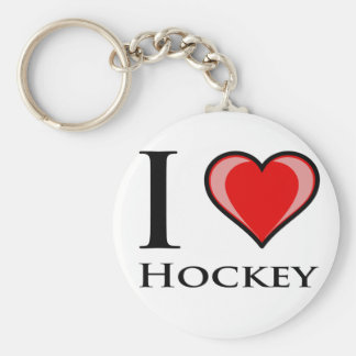 I Love Hockey Basic Round Button Key Ring