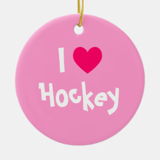 I Love Hockey Christmas Ornament