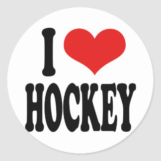 I Love Hockey Classic Round Sticker