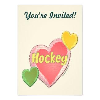 I Love Hockey Heart 13 Cm X 18 Cm Invitation Card