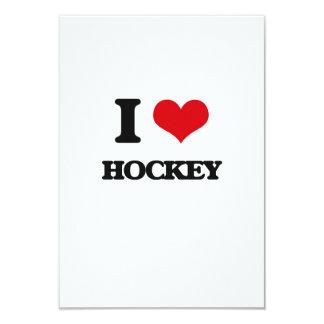 """I love Hockey 3.5"""" X 5"""" Invitation Card"""