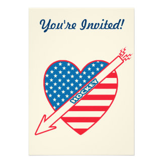 I Love Hockey Patriot Heart Personalized Invitation
