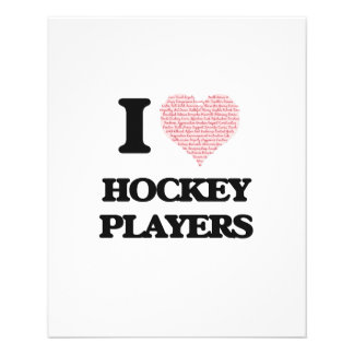 I love Hockey Players (Heart made from words) 11.5 Cm X 14 Cm Flyer