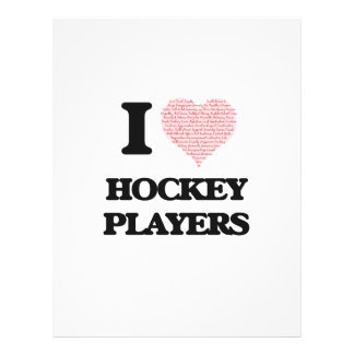 I love Hockey Players (Heart made from words) 21.5 Cm X 28 Cm Flyer