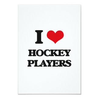 """I love Hockey Players 3.5"""" X 5"""" Invitation Card"""