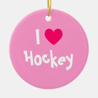 I Love Hockey Round Ceramic Decoration