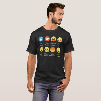 I Love HOCKEY Social Emoticon (emoji) - White Font T-Shirt