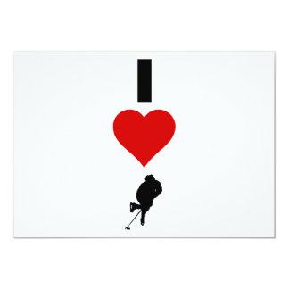 I Love Hockey (Vertical) 13 Cm X 18 Cm Invitation Card