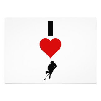 I Love Hockey (Vertical) Personalized Invitations