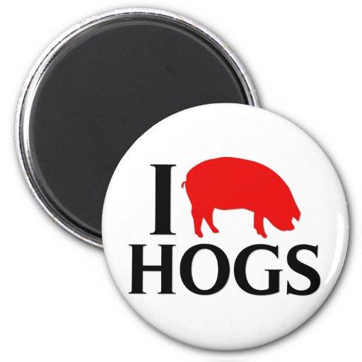 I Love Hogs Refrigerator Magnets