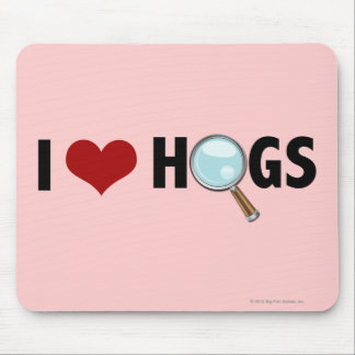 I Love Hogs Red/Black Mouse Mat