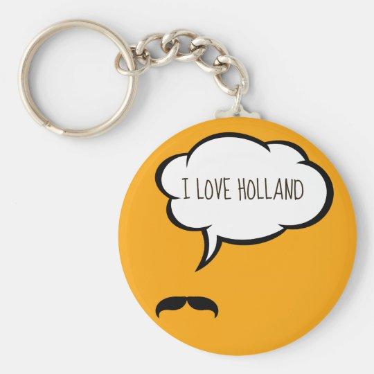 I Love Holland Basic Round Button Key Ring