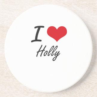 I love Holly Sandstone Coaster