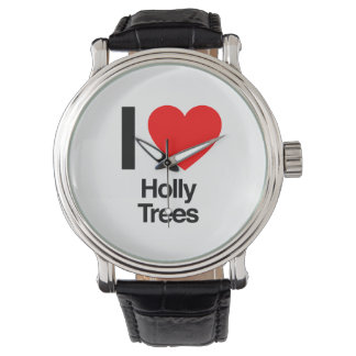 i love holly trees wrist watches