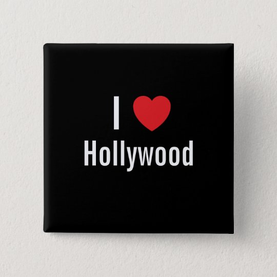 I love Hollywood 15 Cm Square Badge