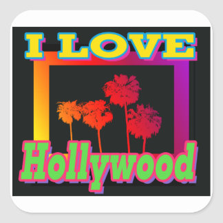 I LOVE Hollywood Palm Trees in the Box Stickers