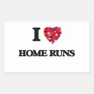 I Love Home Runs Rectangular Sticker