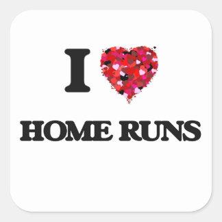 I Love Home Runs Square Sticker