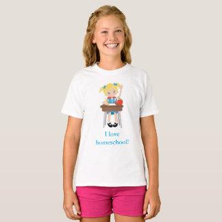 I love home school little girl's T-Shirt