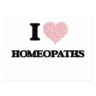 I love Homeopaths (Heart made from words) Postcard