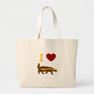 I Love Honey Badger Large Tote Bag