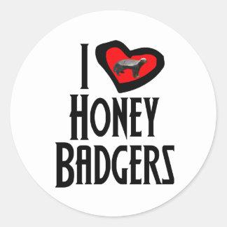 I Love Honey Badgers Classic Round Sticker