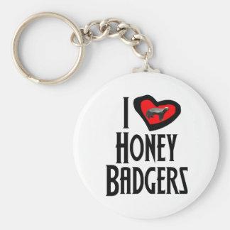 I Love Honey Badgers Key Ring