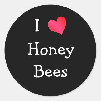 I Love Honey Bees Round Sticker