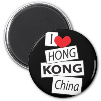 I Love Hong Kong China 6 Cm Round Magnet